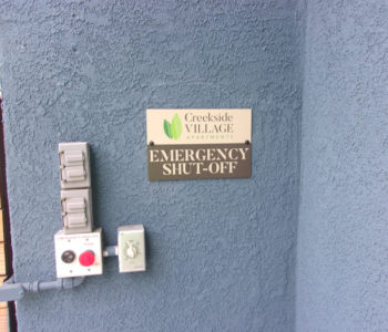 Apartment Home Emergency Shut Off Sign
