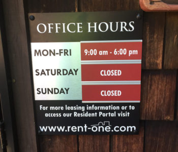 Apartment Office Hours Sign