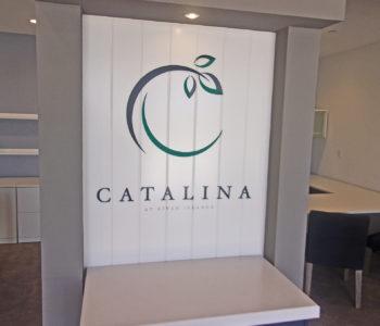 Impact wall displaying a dimensional logo of Catalina.